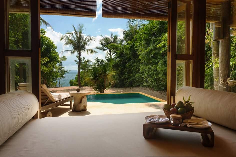Beach villa bedroom at  Six Senses Ninh Van Bay. Photo: Press release